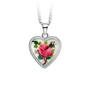 Mestergull Sølv anheng med emaljert roseblomst PIA & PER Anheng