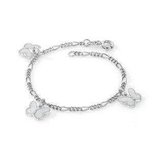 Mestergull Sølv armbånd til barn med sommerfugl charms i hvit emalje PIA & PER Armbånd