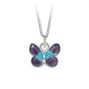 Mestergull Anheng med sommerfugl i sølv med lilla og turkis emalje PIA & PER Anheng