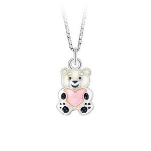 Mestergull Bamse anheng i sølv og rosa emalje PIA & PER Anheng
