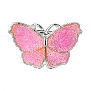 Mestergull Sommerfugl nål i sølv og rosa emalje PIA & PER Nål