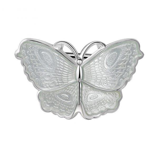 Mestergull Sommerfugl nål i sølv og hvit emalje PIA & PER Nål