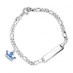 Mestergull Sølv og emalje armbånd med plate for gravering og charms i blå krone PIA & PER Armbånd