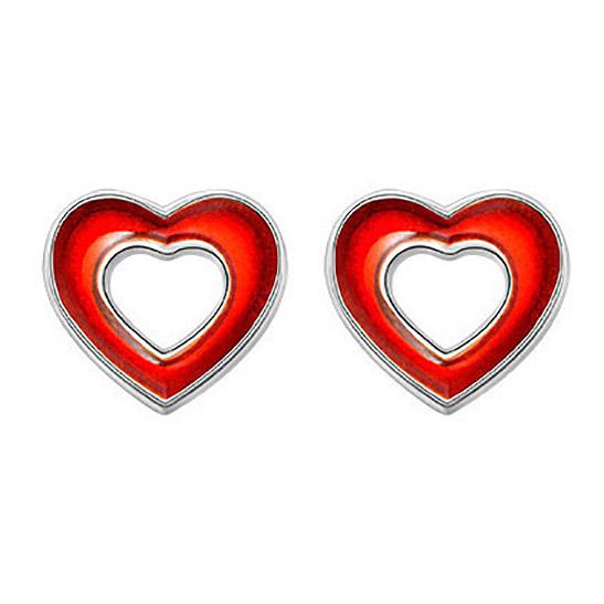 Mestergull Sølv og emalje ørepynt med åpne hjerter i rød emalje PIA & PER Ørepynt