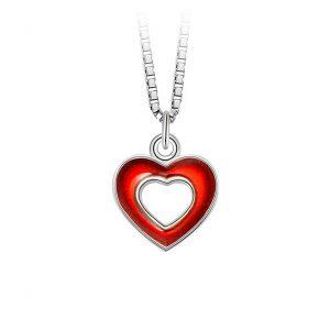 Mestergull Sølv og emalje anheng med åpne hjerter i rød emalje PIA & PER Anheng