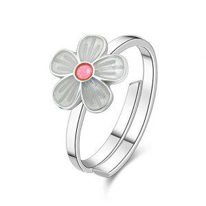 Mestergull Sølv ring med blomster i hvit og rosa emalje PIA & PER Ring