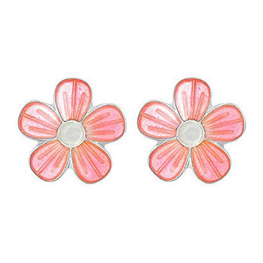 Mestergull Sølv ørepynt med blomster i rosa emalje PIA & PER Ørepynt