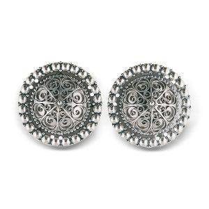 Mestergull Borer i oksidert sølv med perlekant og filigrandekor. NORSK BUNADSØLV Belte