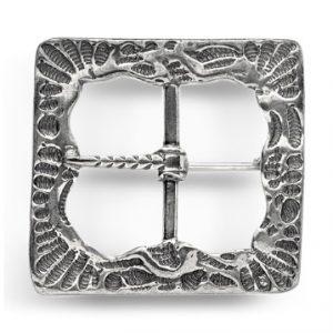 Mestergull Oksidert beltespenne i sølv til Landingsdrakten. NORSK BUNADSØLV Spenne
