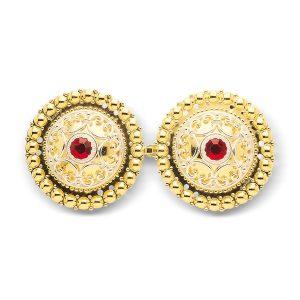 Mestergull Beltespenne i forgylt sølv med røde stener for påsying med dekorative detaljer NORSK BUNADSØLV Spenne