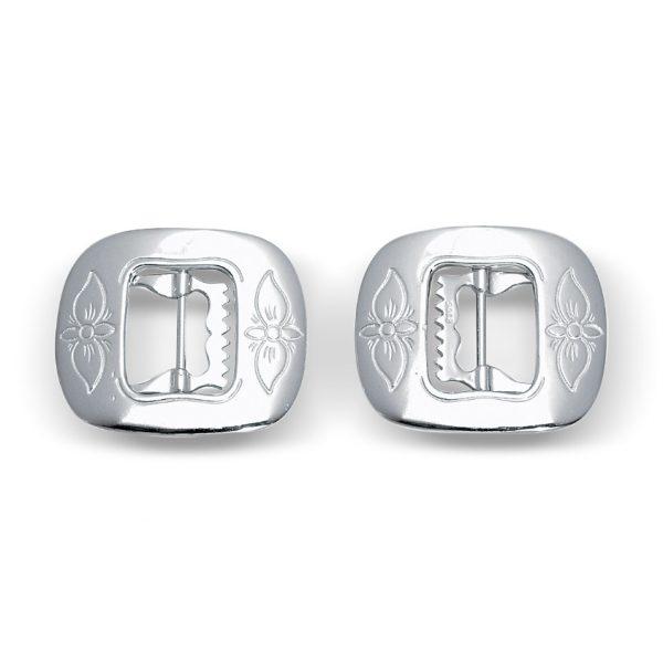 Mestergull Kne og vestspenne i hvitt sølv NORSK BUNADSØLV Spenne