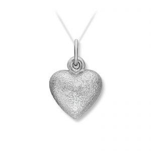 Mestergull Lite hvitt gull hjerte anheng. Diameter 1,3 cm. VAN BERGEN Golden Heart Anheng