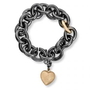 Mestergull Kraftig armbånd i oksidert sølv med gult gull ledd og stor gult gull hjerte. VAN BERGEN Golden Heart Armbånd