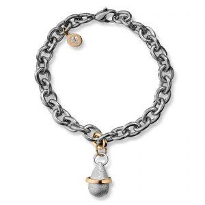 Mestergull Armbånd i stål med gult gull ledd og dråpe i oksidert sølv med gult gull bånd VAN BERGEN Dråpe Armbånd
