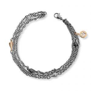 Mestergull 3 rader tynt stålarmbånd med små dråper i oksidert sølv, sølv og gult gull. VAN BERGEN Dråpe Armbånd