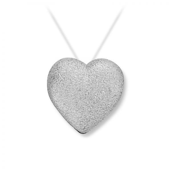 Mestergull Stort hvitt gull hjerte. Diameter 1,9 cm. VAN BERGEN Golden Heart Lås