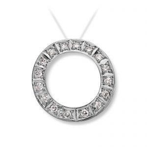Mestergull Lås i hvitt gull med dia. 16 x 0,02 carat TWSI. Diameter 1,8 cm. VAN BERGEN Circle Lås
