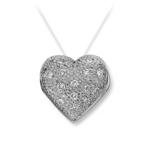 Mestergull Lite hvitt gull hjerte med dia. 15 x 0,02 carat TWSI. Diameter 1,2 cm VAN BERGEN Golden Heart Lås