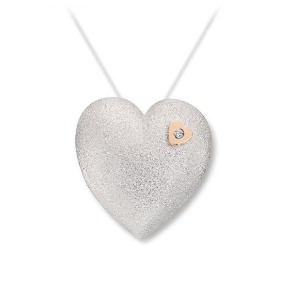 Mestergull Stor sølv hjerte lås med dia. 0,03 carat TWSI, dia. fattet i gult gull. VAN BERGEN Silver Heart Lås