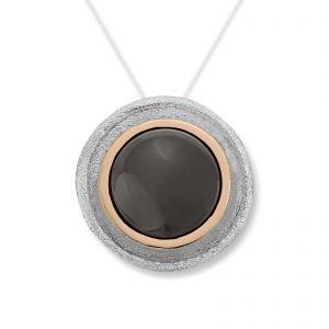 Mestergull Lås i sølv og gult gull med månesten. Diameter 1,2 cm. VAN BERGEN Luna Lås