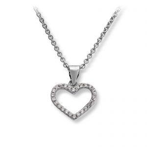 Mestergull Enkelt hjerteanheng i rhodinert sølv med cubic zirkonia GID Anheng
