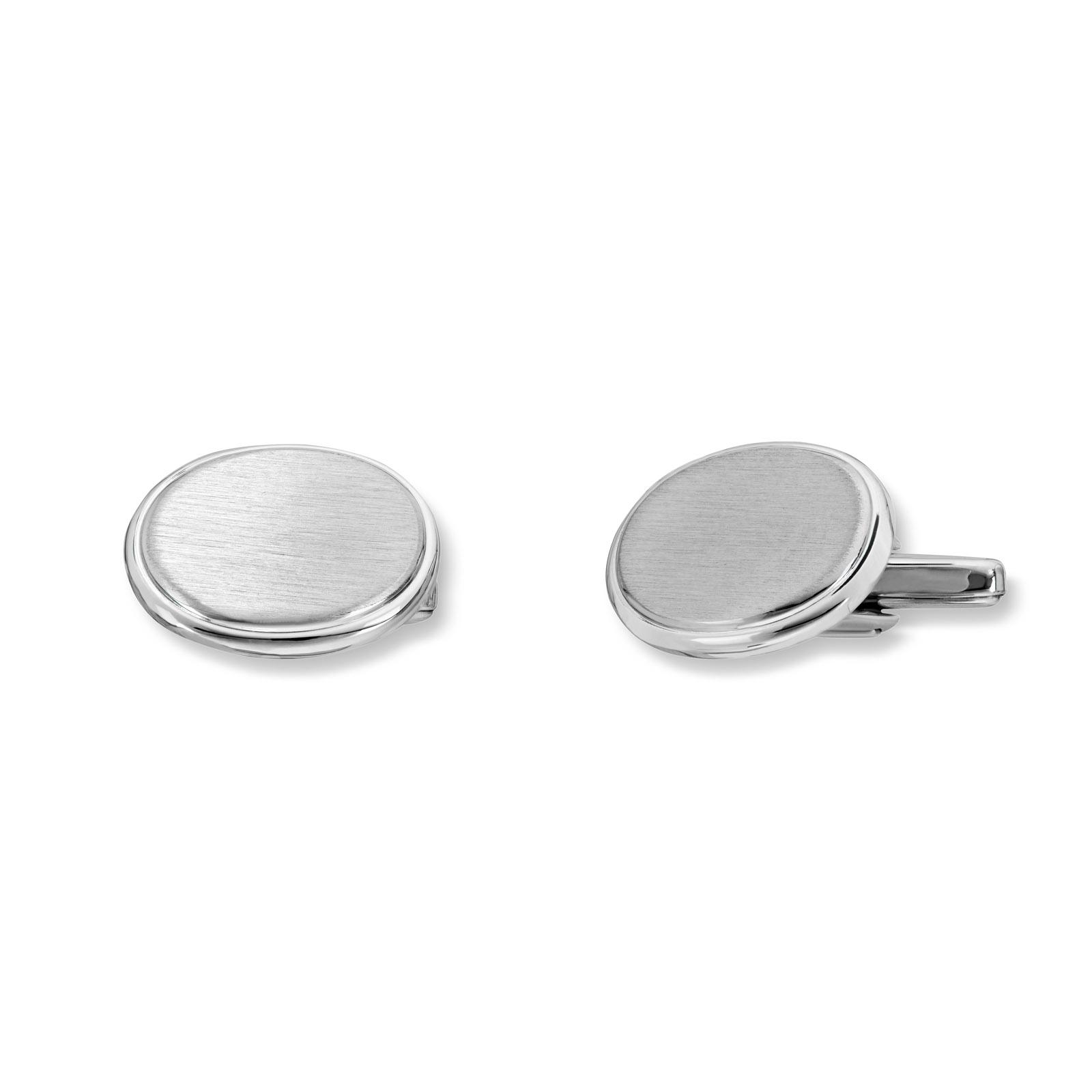 Mestergull Enkel runde mansjettknapper i rhodinert sølv MESTERGULL Mansjettknapp