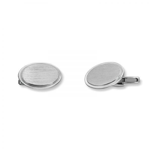 Mestergull Enkle runde mansjettknapper i rhodinert sølv MESTERGULL Mansjettknapp