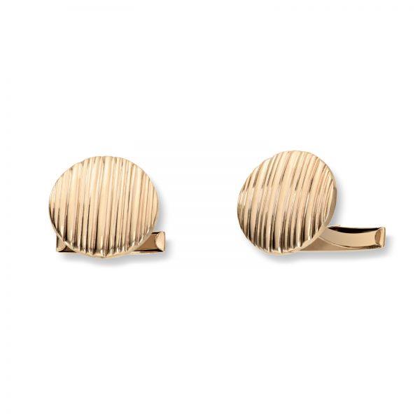 Mestergull Runde mansjettknapper i gull med striper MESTERGULL Mansjettknapp