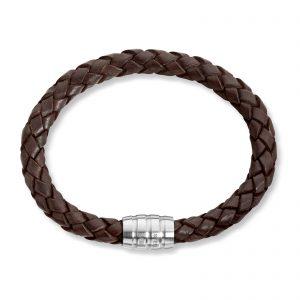 Mestergull Tøft armbånd i flettet brunt skinn MESTERGULL Armbånd