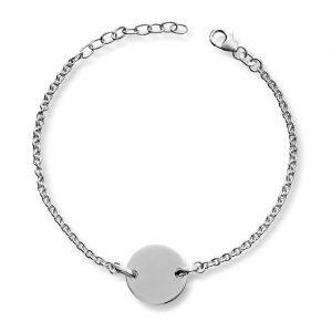 Mestergull Enkelt armbånd i sølv med rund plate for gravering MESTERGULL Armbånd