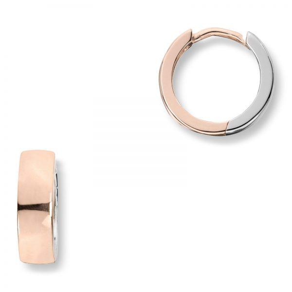 Mestergull Trendy øreringe i rhodinert og rosèforgylt sølv MESTERGULL Ørepynt