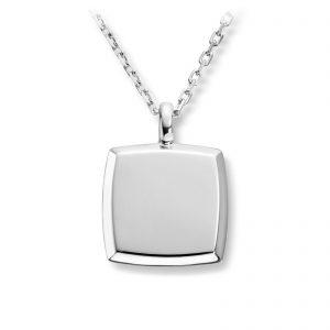 Mestergull Enkelt firkantet anheng til herre i rhodinert sølv MESTERGULL Anheng