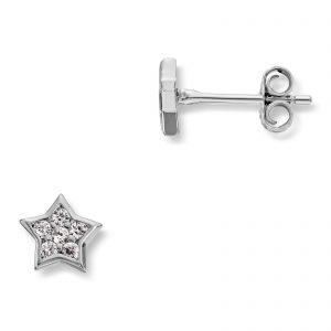 Mestergull Søt stjerneørepynt i rhodinert sølv med cubic zirkonia MG BASIC Ørepynt