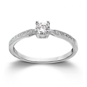 Mestergull Klassisk ring i rhodinert sølv med cubic zirkonia MG BASIC Ring