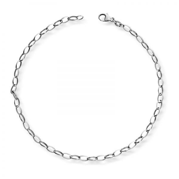 Mestergull Enkel ankellenge i oval anker og rhodinert sølv MESTERGULL Ankellenke