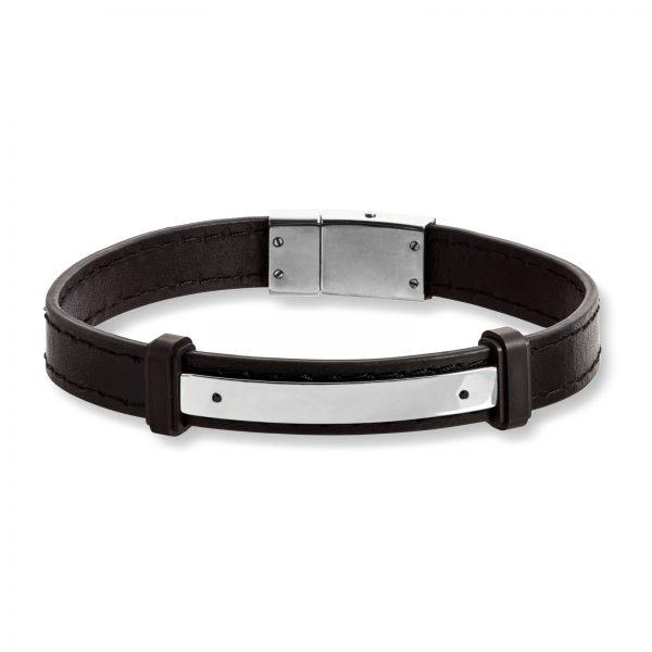 Mestergull Tøft armbånd til herre i sort skinn med stål detaljer MESTERGULL Armbånd