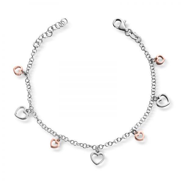 Mestergull Delikat armbånd med hjerter i sølv MG BASIC Armbånd