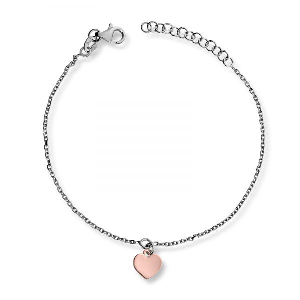 Mestergull Delikat sølvarmbånd med hjerte i roseforgylt sølv MG BASIC Armbånd