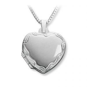 Mestergull Flott hjertemedaljong i sølv med mønster MESTERGULL Anheng