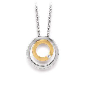 Mestergull Flott anheng i rhodinert og forgylt sølv med diamant VIVENTY Anheng