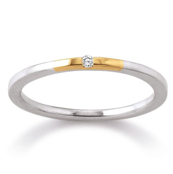 Mestergull Tidløs ring i rhodinert sølv med forgylte detaljer og med diamant VIVENTY Ring