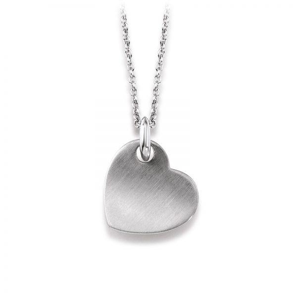 Mestergull Enkelt hjerteanheng i rhodinert sølv VIVENTY Anheng