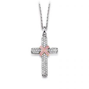 Mestergull Tøft anheng som kors i rhodinert sølv med hvite og rosa cubic zirkonia VIVENTY Anheng