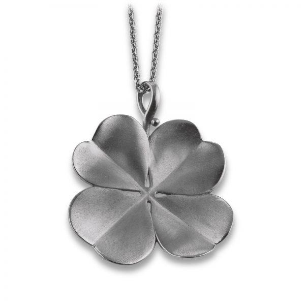 Mestergull Trendy anheng i sortrhodinert sølv med blomst VIVENTY Anheng