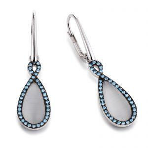 Mestergull Flott ørepynt i rhodinert sølv med grå syntetisk månesten og blå cubic zirkonia VIVENTY Ørepynt