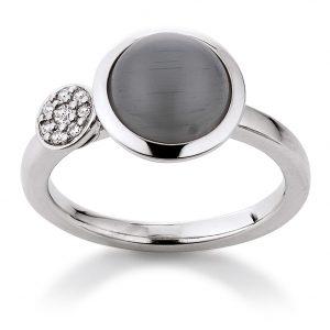 Mestergull Lekker ring i rhodinert sølv med grå syntetisk månesten og cubic zirkonia VIVENTY Ring