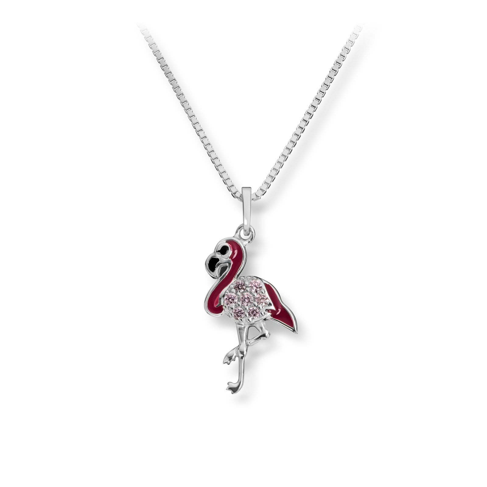 Mestergull Søtt anheng i sølv med cubic zirkonia og rosa lakk MG BASIC Anheng