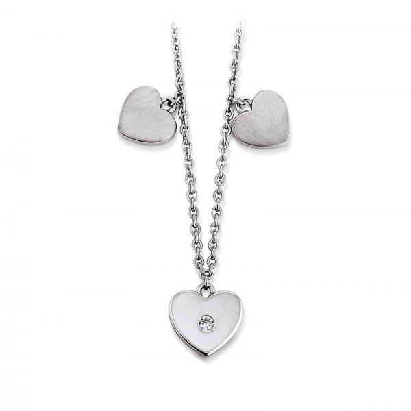 Mestergull Flott kjede med hjerter i rhodinert sølv med cubic zirkonia VIVENTY Kjede