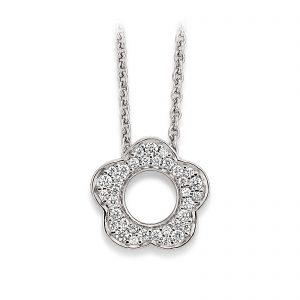 Mestergull Flott anheng med blomst i rhodinert sølv med cubic zirkonia VIVENTY Anheng