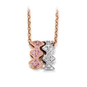 Mestergull Elegant anheng i rhodinert og rosèforgylt sølv med hvite og rosa cubic zirkonia VIVENTY Anheng